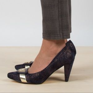 Shoes - Vintage Metallic Velvet Heels